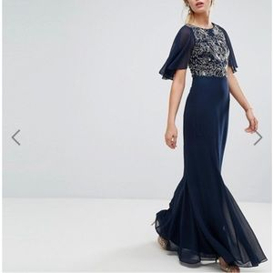 Dark Blue Embellished Maxi Dress